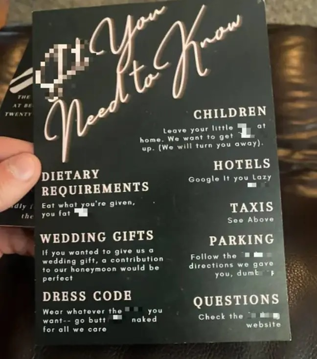 Invitatie la nunta scandaloasa in UK